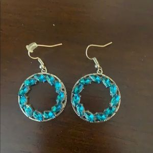 Silver with blue stones